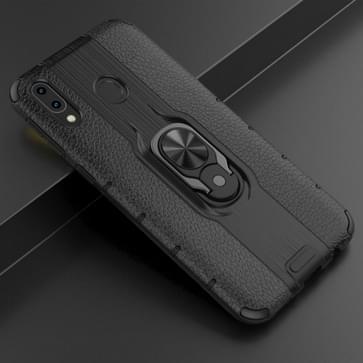 Voor Samsung Galaxy M20 Schokbestendige PC + TPU Case met ringhouder(zwart)