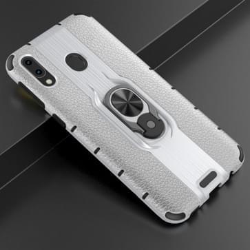 Voor Samsung Galaxy M20 Schokbestendige PC + TPU-hoesje met ringhouder(zilver)