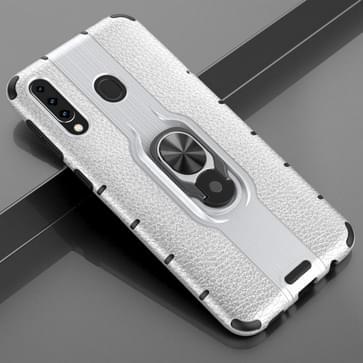 Voor Samsung Galaxy M30 Schokbestendige PC + TPU-hoesje met ringhouder(zilver)