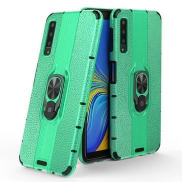 Voor Samsung Galaxy A7 (2018) Schokbestendige PC + TPU-hoesje met ringhouder(groen)