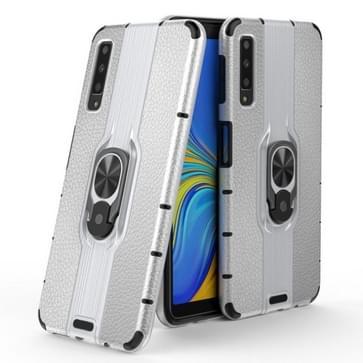 Voor Samsung Galaxy A7 (2018) Schokbestendige PC + TPU-hoesje met ringhouder(zilver)