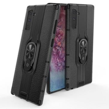Voor Samsung Galaxy Note 10 Schokbestendige PC + TPU-hoesje met ringhouder(zwart)