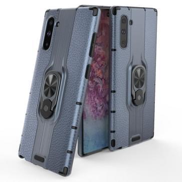 Voor Samsung Galaxy Note 10 Schokbestendige PC + TPU-hoesje met ringhouder(Navy Blue)
