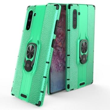 Voor Samsung Galaxy Note 10 Schokbestendige PC + TPU-hoesje met ringhouder(groen)