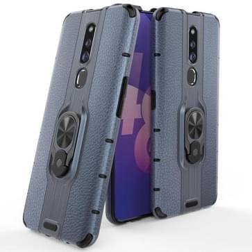 Voor OPPO F11 Pro Schokbestendige PC + TPU Case met ringhouder(Navy Blue)