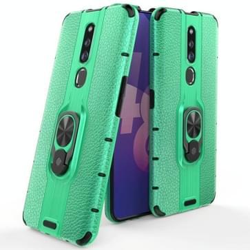 Voor OPPO F11 Pro Schokbestendige PC + TPU Case met ringhouder(groen)