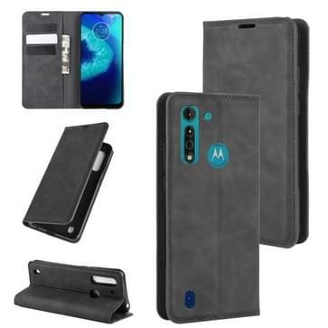 Voor Motorola Moto G8 Power Lite Retro-skin Business Magnetic Suction Leather Case met Holder & Card Slots & Wallet(Zwart)