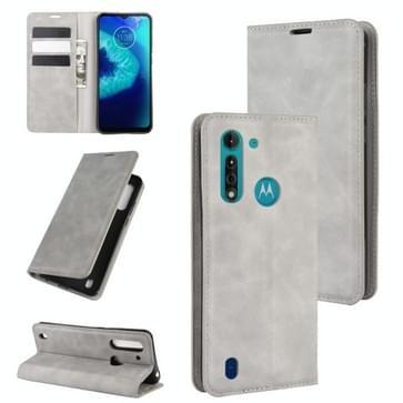 Voor Motorola Moto G8 Power Lite Retro-skin Business Magnetic Suction Leather Case met Holder & Card Slots & Wallet(Grey)
