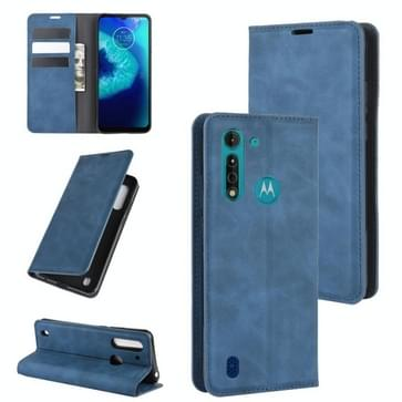 Voor Motorola Moto G8 Power Lite Retro-skin Business Magnetic Suction Leather Case met Holder & Card Slots & Wallet (Donkerblauw)