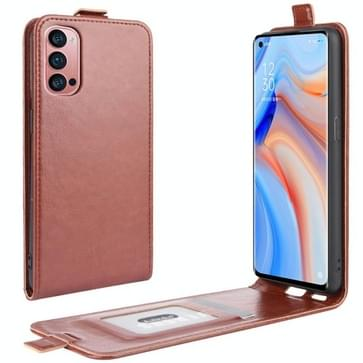 Voor OPPO Reno 4 Pro 5G R64 Texture Single Vertical Flip Leather Protective Case met Card Slots & Photo Frame(Brown)