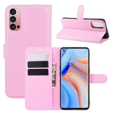 Voor OPPO Reno 4 Pro 5G Litchi Texture Horizontale Flip Beschermhoes met Holder & Card Slots & Wallet(Pink)