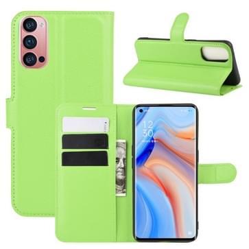 Voor OPPO Reno 4 Pro 5G Litchi Texture Horizontale Flip Beschermhoes met Holder & Card Slots & Wallet(Groen)