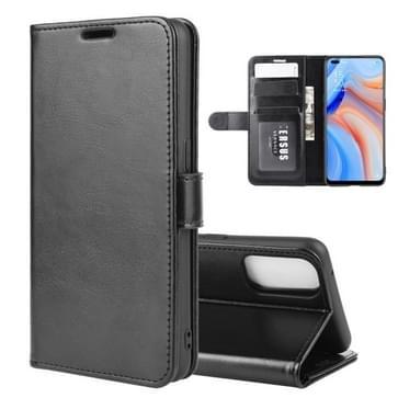 Voor OPPO Reno 4 5G R64 Texture Single Horizontal Flip Protective Case met Holder & Card Slots & Wallet en Photo Frame(Black)
