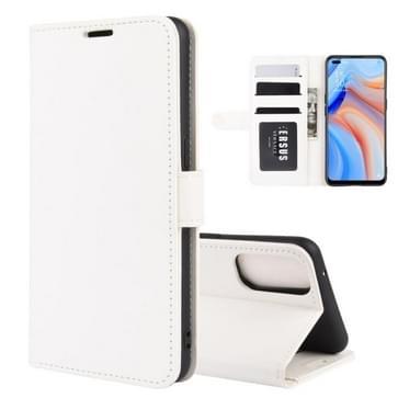 Voor OPPO Reno 4 5G R64 Texture Single Horizontal Flip Protective Case met Holder & Card Slots & Wallet en Photo Frame(White)