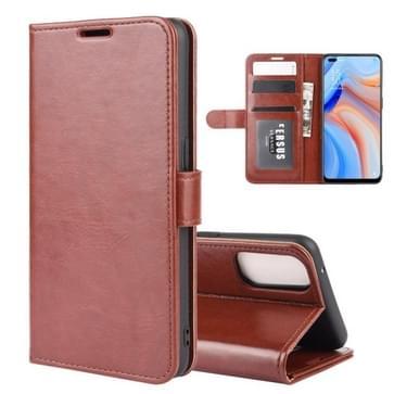 Voor OPPO Reno 4 5G R64 Texture Single Horizontal Flip Protective Case met Holder & Card Slots & Wallet en Photo Frame(Brown)