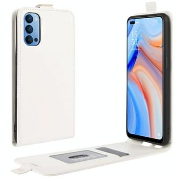 Voor OPPO Reno 4 5G R64 Texture Single Vertical Flip Leather Protective Case met Card Slots & Photo Frame(Wit)