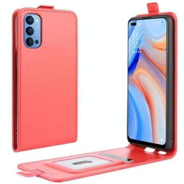Voor OPPO Reno 4 5G R64 Texture Single Vertical Flip Leather Protective Case met Card Slots & Photo Frame(Red)