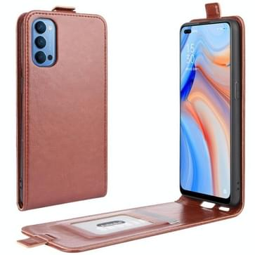 Voor OPPO Reno 4 5G R64 Texture Single Vertical Flip Leather Protective Case met Card Slots & Photo Frame(Brown)