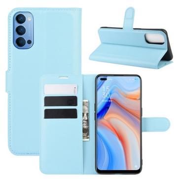Voor OPPO Reno 4 5G Litchi Texture Horizontale Flip Beschermhoes met Holder & Card Slots & Wallet(Blauw)