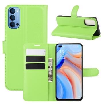 Voor OPPO Reno 4 5G Litchi Texture Horizontale Flip Beschermhoes met Holder & Card Slots & Wallet(Groen)