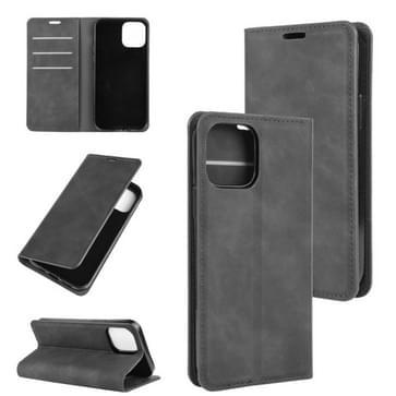 Voor iPhone 12 / 12 Pro Retro-skin Business Magnetic Suction Leather Case met Holder & Card Slots & Wallet(Zwart)