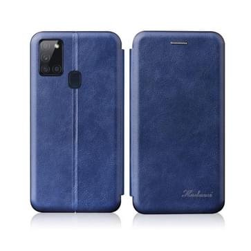Voor Samsung Galaxy A21S Integrated Electricity Pressing Retro Texture Magnetic TPU+PU Leather case with Card Slot & Holder(Blue)