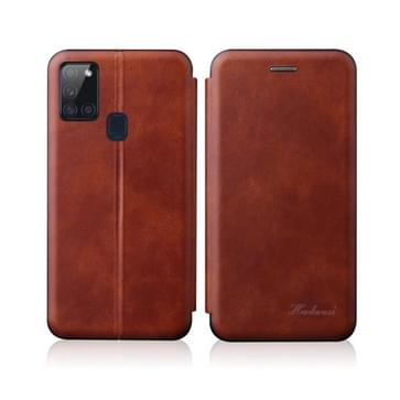Voor Samsung Galaxy A21S Integrated Electricity Pressing Retro Texture Magnetic TPU+PU Leather case with Card Slot & Holder(Brown)