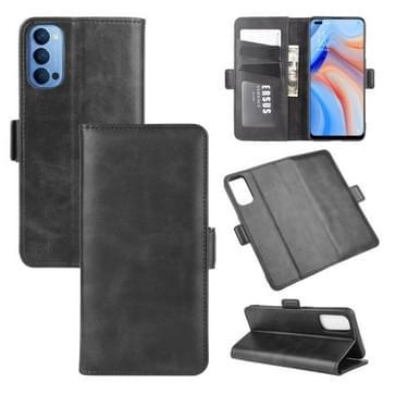 Voor OPPO Reno 4 5G Dual-side Magnetic Buckle Horizontale Flip Lederen Kast met Holder & Card Slots & Wallet(Zwart)