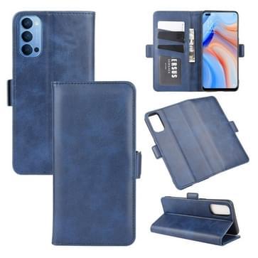 Voor OPPO Reno 4 5G Dual-side Magnetic Buckle Horizontale Flip Lederen Kast met Holder & Card Slots & Wallet(Donkerblauw)
