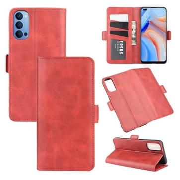 Voor OPPO Reno 4 5G Dual-side Magnetic Buckle Horizontale Flip Lederen Kast met Holder & Card Slots & Wallet(Red)