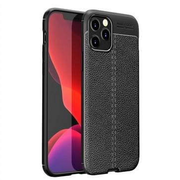 Voor iPhone 12 Pro Max Litchi Texture TPU Schokbestendige case(Zwart)