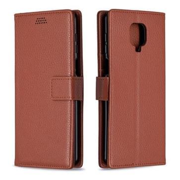 Voor Xiaomi Redmi Note 9 Pro / Note 9s / Note 9 Pro Max Litchi Texture Horizontale Flip Lederen Case met Holder & Card Slots & Wallet & Photo Frame(Brown)