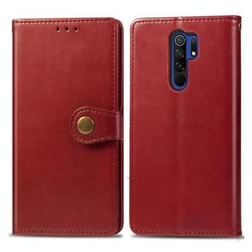 Voor Xiaomi Redmi 9 Retro Solid Color Leather Buckle Phone Case met Photo Frame & Card Slot & Wallet & Bracket(Red)