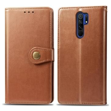 Voor Xiaomi Redmi 9 Retro Solid Color Leather Buckle Phone Case met Photo Frame & Card Slot & Wallet & Bracket(Brown)