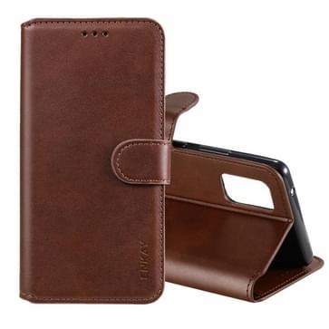 Voor Samsung Galaxy A71 ENKAY Hat-Prince horizontale flip lederen hoes met Holder & Card Slots & Wallet(Brown)