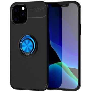 Voor iPhone 12 / 12 Pro Metalen Ring Houder 360 graden roterende TPU-behuizing (Zwart+Blauw)