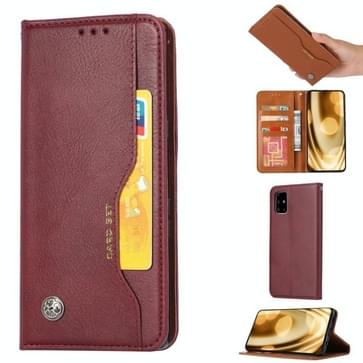 Voor Samsung Galaxy Note 20 Knead Skin Texture Horizontale Flip Lederen Case met Photo Frame & Holder & Card Slots & Wallet (Wine Red)