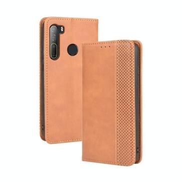 Voor HTC Desire 20 Pro Magnetic Buckle Retro Crazy Horse Texture Horizontale Flip Lederen Case   met Holder & Card Slots & Photo Frame(Brown)