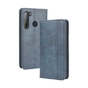 Voor HTC Desire 20 Pro Magnetic Buckle Retro Crazy Horse Texture Horizontale Flip Lederen Case   met Holder & Card Slots & Photo Frame(Blauw)