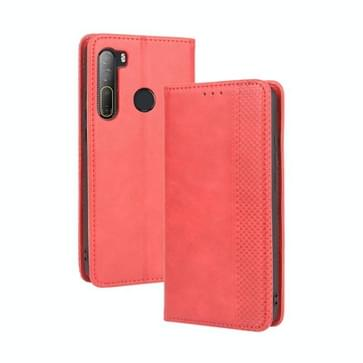 Voor HTC Desire 20 Pro Magnetic Buckle Retro Crazy Horse Texture Horizontale Flip Lederen Case   met Holder & Card Slots & Photo Frame(Red)