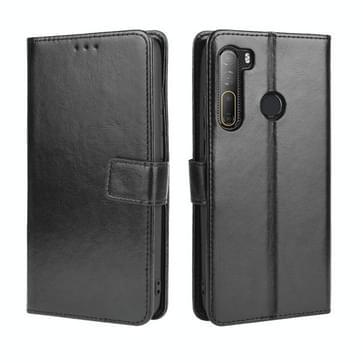 Voor HTC Desire 20 Pro Retro Crazy Horse Texture Horizontale Flip Lederen Case   met Holder & Card Slots & Photo Frame(Zwart)