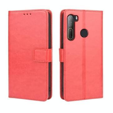 Voor HTC Desire 20 Pro Retro Crazy Horse Texture Horizontale Flip Lederen Case   met Holder & Card Slots & Photo Frame(Red)