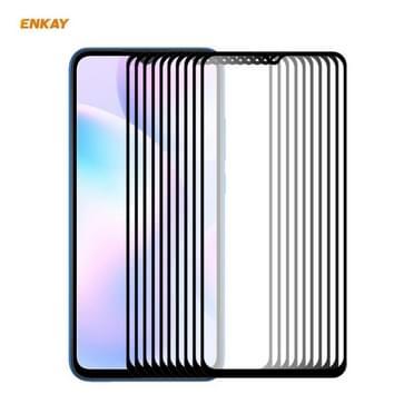 Voor Redmi 9 / 9A / 9C 10 PCS ENKAY Hat-Prince volledige lijm 0 26mm 9H 2.5D Gehard glas volledige dekking film