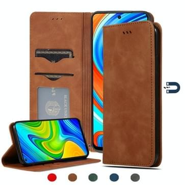 Voor Redmi Note 9 Pro / Note 9S / Note 9 Pro Max Retro Skin Feel Business Magnetic Horizontal Flip Leather Case (Bruin)
