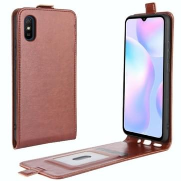 Voor Xiaomi Redmi 9A R64 Texture Single Vertical Flip Leather Protective Case met Card Slots & Photo Frame(Brown)