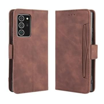 Voor Samsung Galaxy Note20 Ultra Wallet Style Skin Feel Calf Pattern Leather Case met aparte kaartsleuf (bruin)