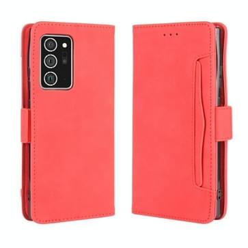 Voor Samsung Galaxy Note20 Ultra Wallet Style Skin Feel Calf Pattern Leather Case met aparte kaartsleuf (rood)