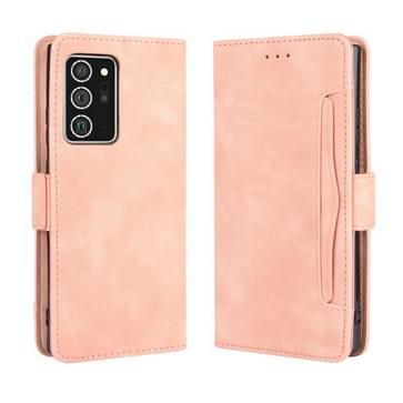 Voor Samsung Galaxy Note20 Ultra Wallet Style Skin Feel Calf Pattern Leather Case met aparte kaartsleuf (roze)