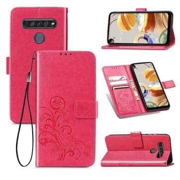 Voor LG K61 Vierbladige gesp reliëf gesp mobiele telefoon bescherming lederen case met Lanyard & Card Slot & Wallet & Bracket Functie(Magenta)