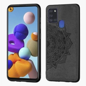Voor Samsung Galaxy A21s Mandala Reliëf Doek Cover PC + TPU mobiele telefoon case met magnetische functie en handband (Zwart)